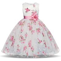mädchen größe kinder kleidung groihandel-Blumenmädchen Kleid Rosa Blumen 2019 Sommer Mädchen Prinzessin Kleider für Hochzeit Party Kleider Kinder Kleidung Größe 3-8 Jahre