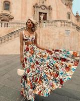 western-stil röcke großhandel-Sommer Womens Dress Sleeveless 2 Stücke Sets Rüschen Western Style Sexy Freizeit Strand Rock Flora Gedruckt Kleider