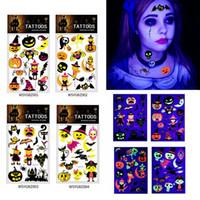 vorübergehende karikaturtätowierungen großhandel-Halloween Fluorescent temporäre Tätowierung-Aufkleber Umweltfreundlich Kinder Pumkin Tier Cartoon-Tätowierung-Aufkleber für Party Schönheit HHA811