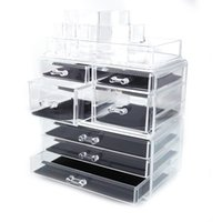 Wholesale small rack resale online - Fashionable Design Cosmetic Storage Rack with Small Large Drawers Jewelry Box Plastic Storage Cabinet Great Deal