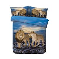 quilt cover king blau großhandel-Blauer Ozean Strand Bett Tiger 3 Stück Bettbezug-Set Tröster Quilt Bettwäsche-Abdeckung mit Reißverschluss Wildlife Leopard Bed Verbreitung