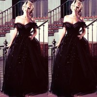 vestido de lentejuelas oscars al por mayor-Marilyn Monroe oscars vintage Negro fuera del hombro noche árabe vestidos de baile vestidos de bola Tulle de lentejuelas recién llegado Celebrity Party Gowns