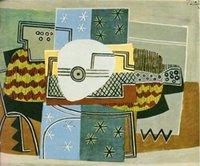 pintura al óleo naturaleza lienzo al por mayor-Pablo Picasso Pintura al óleo clásica Todavía vida con la mandolina Nature Morte A La Mandolina 100% a mano en lona Picasso784