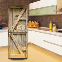 refrigerador de madera para niños al por mayor-Mantener al aire libre Puerta de madera Autoadhesivo Lavaplatos Refrigerador Congelación Etiqueta Arte para niños Nevera Puerta Cubierta Wallpaper