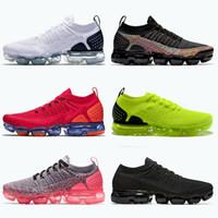 vapor v4 al por mayor-Nike Air Vapormax Flyknit 2.0 Para mujer para hombre caliente AireVapormaxFKTejer 2.0 zapatos corrientes Orbit Negro oro metálico Formadores las zapatillas de deporte