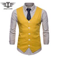 traje de los hombres de chaleco amarillo al por mayor-Los hombres de la boda delgada traje chalecos azul marino borgoña blanco amarillo verde naranja hombres de moda de lino causales chalecos chaleco de verano Q573