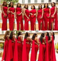 Wholesale coral bridesmaid dresses one shoulder for sale - Group buy Arabic Vintage Red Mermaid Bridesmaid Dresses Sexy One Shoulder Side Split Floor Length Long Wedding Guest Dress Formal Maid of Honor Gowns