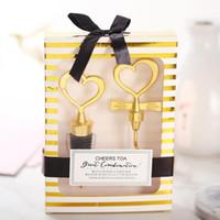 Wholesale elegant valentine party gifts for sale - Group buy Hot Elegant Valentines Wedding Gifts Golden Heart Shaped Red Wine Bottle Opener Champagne Wine Bottle Stopper