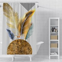 Wholesale beautiful shower curtains resale online - Custom Beautiful feathers Waterproof Shower Bath Curtain Printed Bathroom Decor Various Sizes