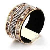 bracelete de pulseira de couro de strass venda por atacado-33MM Wide Womens Bege Completa Pedras Tênis PU Pulseira De Couro De Pulso Pulseira Strass Incrustação