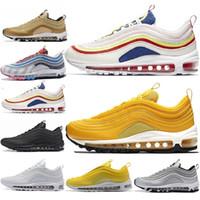 erkekler için daire toptan satış-Yeni tasarımcı 97 s Erkekler Düşük OG Yastık Nefes Ucuz Masaj Koşu Düz Sneakers Erkek Spor Açık Ayakkabı boyutu US5.5-11