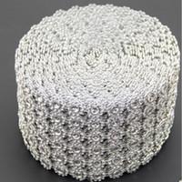 rolo de malha de prata e strass venda por atacado-Prata strass diamante envoltório de malha de flores rolo de cristal strass faísca fita diy bolo roll decoração de festa de casamento