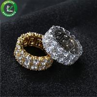 золотой свадебный шарм оптовых-Хип-хоп обледенелое кольцо микро проложить CZ камень теннисное кольцо Мужчины Женщины очарование роскошные ювелирные изделия Кристалл Циркон Алмаз золото посеребренные свадьба