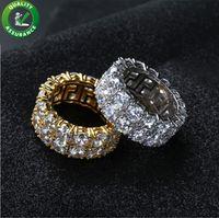 ingrosso fascini di zircone-Anello Hip Hop Iced Out Micro pavimenta CZ Stone Tennis Ring Uomo Donna Fascino Luxury Jewelry Cristallo Zircone Diamond Gold Silver Wedding placcato