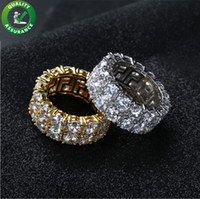 anéis de cristal de zircão venda por atacado-Hip Hop Congelado Para Fora Anel Micro Pavimentar CZ Pedra De Tênis Anel Das Mulheres Dos Homens Charme Jóias De Luxo De Cristal De Zircão Diamante De Prata Banhado A Ouro Do Casamento