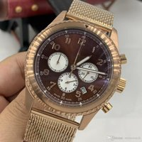 Wholesale mesh buckle bracelet for sale - Group buy High end Brand Wristwatches Red Dial Yellow Stainless Steel Mesh Bracelet Quartz Chrono Mens Watches Watch With Working Seconds Hands