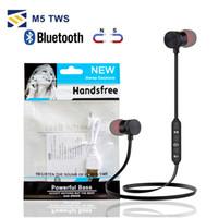 bolsa de auriculares mp3 al por mayor-Para Iphone X 8 Samsung Auriculares magnéticos M5 Bluetooth Auriculares deportivos Estéreo Auriculares inalámbricos para correr con micrófono MP3 Auricular BT 4.1 Bolso OPP