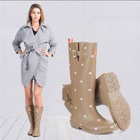 Wholesale rain boots heels resale online - Hot Sale Rain Boots Printing Polka Dot Ladies Rubber MIid Calf Heels Waterproof Buckle Rainboots New Fashion Design Women Dot Rain