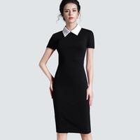 ingrosso vestito le donne del corpo di business-Abbigliamento da donna vintage nero da donna formale da lavoro per ufficio corto casual cappotto attillato vestito a matita 751 Y19071101