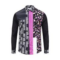 camisa ajustada rosa para hombre al por mayor-Patchwork camisa rosa Hombres camisas de amor coloridas Vintage medieval manga larga camisas para hombre casual slim fit Golden flame ropa