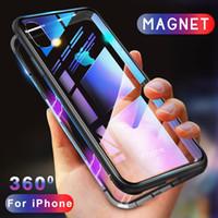 not manyetik kasa toptan satış-Metal Çerçeve Manyetik Adsorpsiyon Temperli Cam Telefon Kılıfı Için iPhone X XR XS MAX 8 7 6 Samsung S8 S9 Artı Not 9