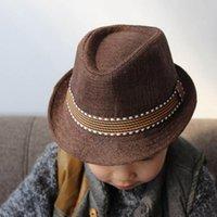 jungs jazz hüte großhandel-Kinder-Jazz-Kappen Fedoratrilby Hut Mode Unisex beiläufige Kappen-Kind-Hut-Jazz-Kappe für Jungen-Mädchen-Kind-Jazz Straw Cap