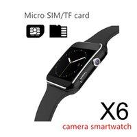 x6 toque venda por atacado-Novo x6 relógios inteligentes com suporte da tela de toque da câmera cartão sim tf bluetooth smartwatch para iphone x samsung telefone goophone com caixa de varejo