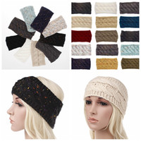 Wholesale hair for twists online - 21 color Knitted Crochet Twist Headband Turban Winter Ear Warmer Headwrap Elastic Hair Band for Women Hair Accessories KKA6332