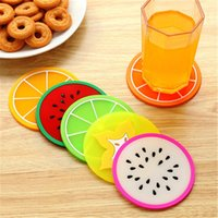 Wholesale cute coasters resale online - Cup Mat Pads Promotional Cute Fruit Pattern Colorful Silicone Round Cup Cushion Holder Thick Drink Tableware Coaster Mug