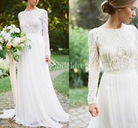 Wholesale classic simple sexy wedding dresses resale online - Bohemain Lace Wedding Dresses With Long Sleeves A Line Sweep Train Classic Country Style Garden Beach Bridal Gowns Stylish Vestidoe De Noiva
