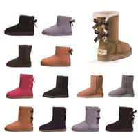 schwarze plattform schnee stiefel groihandel-2020 Fashion Australien Stiefel für Frauen-klassischen Schnee-Stiefel Langer Knöchelkurzbogen für Winter-schwarze Kastanien-Boot-beiläufigen Plattform-Schuhe 36-41
