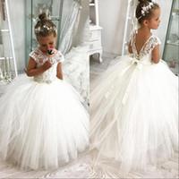 Wholesale western kids resale online - White Flower Girl Dresses Western Garden Weddings Sheer Cap Sleeve Appliqued With Lace up Back Toddler Kids Birthday Dress
