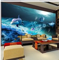 Wholesale sea world wall decorations resale online - 3D Wallpaper D Sea World Three Dolphin Fish Living Room Bedroom Background Wall Decoration Mural Wallpaper