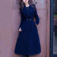 abrigo de lana vintage al por mayor-2018 vintage Winter Coat fashion Women Lady elegante laple Overcoat Wool Blends cálido x-long slim slim