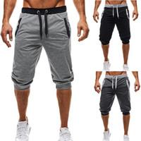 ingrosso pantaloni sudore pantaloni maschi s capris-Pantaloni da uomo a cinque punte Moda ginocchio lunghezza patchwork casuale pantaloni della tuta slim fit fitness pantaloni uomo Capris SH19062701
