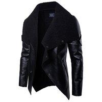 ingrosso bottoni di pelliccia-2019 Giacca in pelle da uomo Motociclista uomo in eco-pelliccia Cappotto con cerniera in veste di pelle Cappotti da uomo