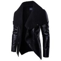 casacos de pele boton venda por atacado-2019 moda jaqueta de couro motociclista mens faux casacos de pele botão zipper veste de cuir primavera outwear homens casacos