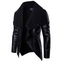 pelzknopf großhandel-2019 Mode Lederjacke Motorradfahrer Herren Faux Pelzmäntel Reißverschluss Button Frühling Outwear Männer Mäntel