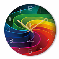 Wholesale clock abstract art for sale - Group buy Colorful Creative Rainbow New Quartz Wall Clock Modern Fantastic Abstract Art Style Wall Clocks For Home Decor