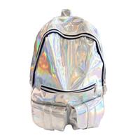 gümüş hologram sırt çantası toptan satış-HOLOGRAPHIK Gama Hologram sırt çantası Kadın Gümüş Hologram Lazer Sırt Çantası erkek Çantası deri Holografik Sırt Çantası # 150952