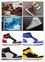 ingrosso aria retro x-Nike Air Jordan Retro Shoes 2019 Mens 1 OG Top Uomo Scarpe da basket OG Sneakers Mandarin duck Scarpe da ginnastica Uomo Retro Sport Sneakers Scarpe