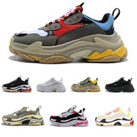 Wholesale high heeled shoes man resale online - 2019 Triple S Running Shoes Men Women Sneaker High Quality Luxury Designer Thick Heel Grandpa Dad Trainer Triple S Casual Shoes With Elevato