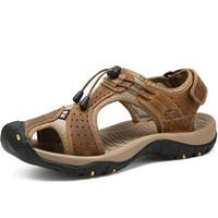 sandalet hakiki deri erkek yeni toptan satış-2019 Yeni Varış Erkek Sandalet Yaz Romen Tarzı Hakiki Deri Plaj Erkekler Rahat Ayakkabılar Ikna Ayarlanabilir Su Ayakkabı