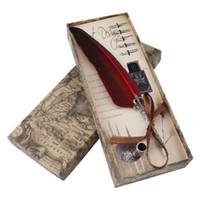 ingrosso fontane-1 set inglese calligrafia piuma penna a penna set di inchiostro di scrittura di articoli da regalo di cancelleria con 5 pennino regalo di nozze penna stilografica penna nuova