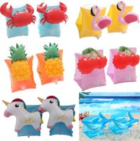 Wholesale white swim ring resale online - Baby Flamingo Swimming Arm Rings Crab Inflatable Arm Bands Unicorn Arm Rings Kids Swim Accessories Bath Toys pair CCA11573 pair
