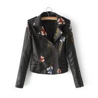 vestes en faux cuir motard achat en gros de-Veste En Cuir Pu Femmes Broderie Moto Manteau Court En Cuir Faux Biker Veste Doux Femelle