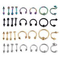 Wholesale industrial piercing rings resale online - 16pcs set Steel Belly Button Piercings Ear Studs Nose Ring Lip Eyebrow Piercings Industrial Barbell Body Jewelry Piercing