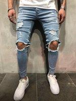 çocuklar için delikli pantolon toptan satış-Hi sokak kaykay delikleri tasarımcı kot erkek slim fit genç erkek hiphop yırtık jean pantolon