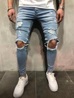 ingrosso ragazzo passa i buchi-Jeans da uomo di skateboard con pantaloni strappati da uomo, pantaloni slim fit da uomo
