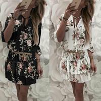 xxl sundresses venda por atacado-Mulheres verão mini evening party beach dress vestido de verão casual babados dress plus size s-xxl